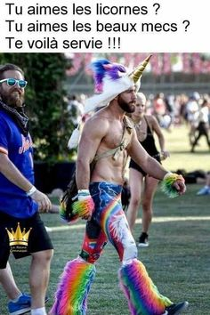 Mens' rainbow unicorn outfit - 35 Coachella Outfits That Are So Coachella It Hurts Lorie, Funny Quotes, Funny Memes, Jokes, Funniest Memes, Hommes Sexy, Gay Pride, Make Me Smile, I Laughed