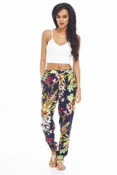 Tropical Printed Harem Pants