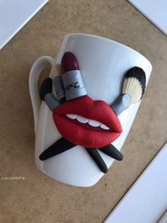 Lips makeup Decorated mug Polymer clay mug Kitchen decoration Personalized mug Coffee mug Tea cup with decor Mug with decor Gift for girl Polymer Clay Disney, Polymer Clay Crafts, Diy Clay, Polymer Clay Jewelry, Bottle Art, Bottle Crafts, Clay Cup, Personalized Mugs, Gifts For Girls