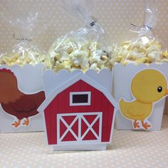 Barn on a Farm Party Popcorn or Favor Boxes Set of 10 image 1 Farm Birthday, Boy Birthday Parties, Barn Animals, Cowgirl Party, Farm Party, Farm Theme, Craft Projects For Kids, Animal Party, Party Favors