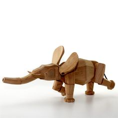 Elephant Named Hattie Wood Toy: Designed by David Weeks, who also created popular Gorilla, Bear & Rhino. Solid wood toys with great flexibility.