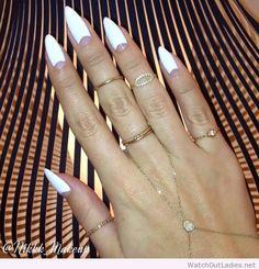 White half moon nail art