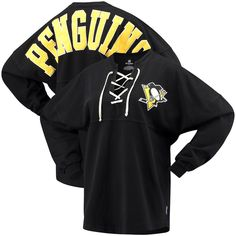 Pittsburgh Penguins Fanatics Branded Women s Lace Up Long Sleeve Spirit  T-Shirt – Black b1123e865