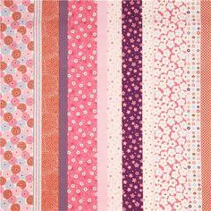 Strukturierter bunter asiatische Blumen Kokka Dobby Stoff - Blumenstoffe - Stoffe - kawaii shop modeS4u