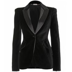 """I heart this Alexander McQueen black velvet blazer. """"Finished with a grosgrain trimmed Italian suit collar and styled with angled flapped pockets"""".  seen @ www.mytheresa.com"""