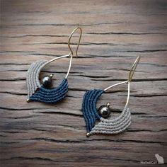 Macrame earrings beaded earrings 925 sterling silver 24K   Etsy Macrame Earrings Tutorial, Beaded Earrings, Beaded Jewelry, Crochet Earrings, Handmade Jewelry, Jewellery, Macrame Bag, Macrame Bracelets, Micro Macramé