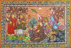 Radha Krishna - The Eternal Lovers (Orissa Paata Painting on Tussar Silk - Unframed))
