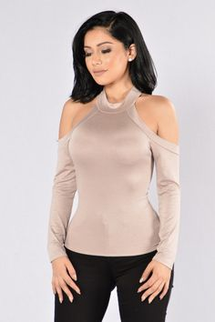 - Available in Marsala and Taupe - Cold Shoulder Top - Long Sleeve - Mock Neckline - Fitted - Made in USA - 95% Rayon 5% Spandex