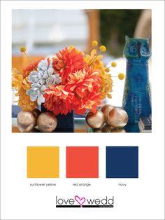 yellow, orange, navy #color palette #wedding