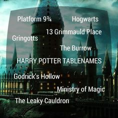 harry potter wedding table names - Google Search