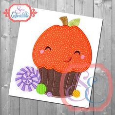 Pumpkin Cupcake Applique Design For Machine Embroidery INSTANT DOWNLOAD by SewEmbroidable on Etsy
