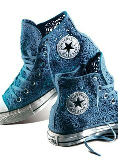 Crochet shoes converse all star ideas Converse All Star, Converse Sneakers, Converse Chuck Taylor, High Top Sneakers, High Heels, Lace Converse Shoes, Custom Converse, Fashion Mode, Converse Shoes