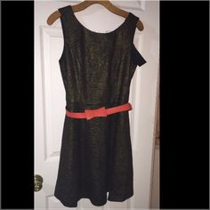 BNWT!!! Ark & Co. Fit & Flare Tweed Dress Brand New w Tags! Ark & Co. Black & gold sleeveless tweed dress. It has a hidden zipper in the back. Deep V in the back. Comes with belt that adds a pop of color! 35% viscose, 65% polyester. It also has a lining 100% polyester. Size large may fit a medium as well. Great for work, church, or HH. Pair w a cute cardigan, flats, or pumps. Ark & Co Dresses