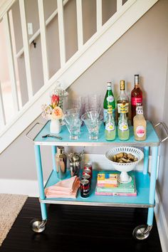 Turquoise bar cart.  Photography By / http://kellybramanphotography.com,Styling   Flowers By / http://heygorgeousevents.com