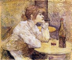 The Hangover (Suzanne Valadon), by Toulouse-Lautrec. Valadon was a relatively successful post-Impressionist painter in the same avant-garde circles as Lautrec. She was briefly a circus acrobat until falling from a trapeze; she then supported herself as an artist's model. She read Toulouse Lautrec's books, observed the artists at work, and taught herself to paint, becoming a student of Degas. She had prolific affairs in the art world and was mother to painter Maurice Utrillo. -Ciana Pullen