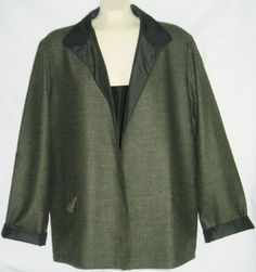 Linda Allard Ellen Tracy Blazer Jacket Coat Wool Blend Reversible Silk Blend 14 #EllenTracy #Blazer