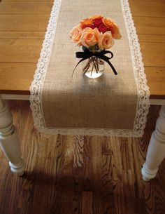 "Burlap & Vintage Lace Table Runner, Full Lace Border 15"" x 74"""