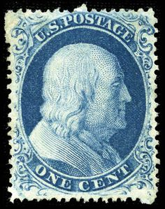 An early US Stamp - the 1 cent Ben Franklin.