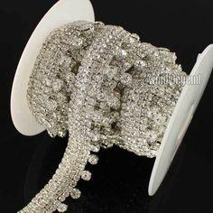 1yd Stunning Clear Silver Rhinestone Sew on Trim Horse Browband Craft  b0d576dfbdeb