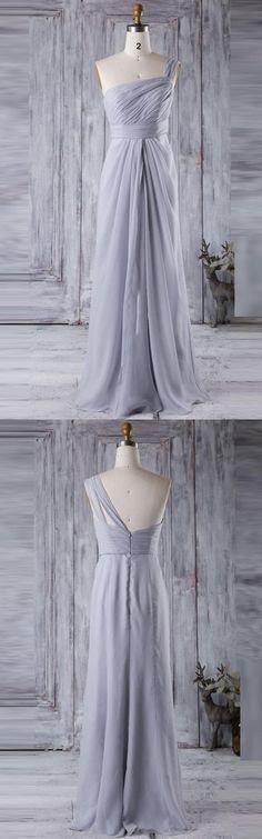 One Shoulder Silver Long Chiffon Bridesmaid Dress
