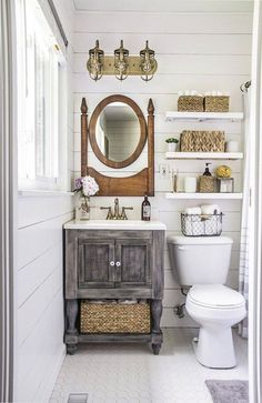 Marvelous Farmhouse Style Home Decor Idea (52) small vanity space saver