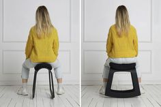 The limited edition Muista Ananas rocking desk stool, made with pineapple leaf fiber waste, encourages movement, balance and coordination.