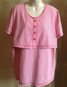 DIVIDENDS MATERNITY Red & White Stripe Cotton Blend Short Sl Knit Top Size LARGE