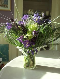 Bridal bouquet in purple and white.