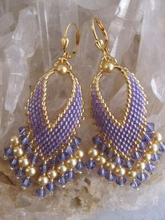 Russian Leaf Earrings With Fringe - Purple Sparkle Seed Bead Jewelry, Seed Bead Earrings, Leaf Earrings, Beaded Jewelry, Beaded Bracelets, Leaf Necklace, Seed Beads, Ideas Joyería, Beads Pictures