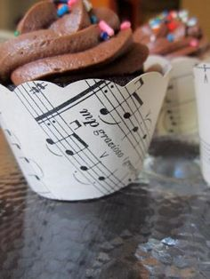 Vintage music cupcake wrappers