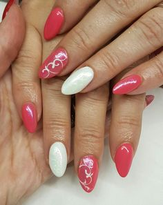 Coral and white nails