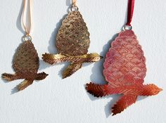 New pine cone etched decorations in copper & brass