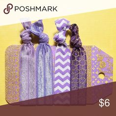 Set of Purple Lavender Glitter Stripe Hair Ties PRICES ARE FIRM UNLESS BUNDLED (3 or more)   This is a set of 4 fold over/foldover elastic hair ties that are heat sealed on the ends to prevent fraying. For patterned hair ties, the pattern is only on one side (the reverse side is usually white unless the pattern is gold foil). These are handmade by me, Posh Pony, and come with the card as shown (or a very similar card). Note: Actual colors may vary due to lighting or screen settings.  Check…