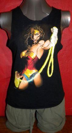 Wonder Woman Super Hero Upcycled  TShirt Tank Top by KillWalmart, $15.00