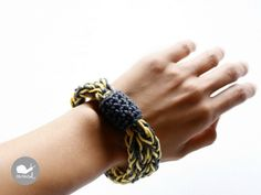 Crochet I cord Bracelet in yellow and grey by caracolhandmade, $10.00