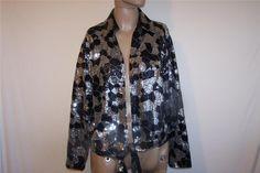 CHICOS Sz 2 Evening Wear Jacket Top Black Silver Sequins Tie Front M 12/14 #Chicos #tiefront #EveningOccasion