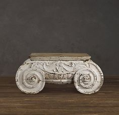 Restoration Hardware Distressed Ionic Capital Coffee Table   $1895