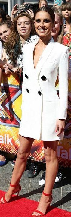 Cheryl Fernandez-Versini covers up in a stylish white tuxedo dress Cheryl Cole Style, Red Strappy Heels, Cheryl Fernandez Versini, Girls Aloud, White Tuxedo, Fashion Dictionary, Toned Abs, Tuxedo Dress, Coat Dress