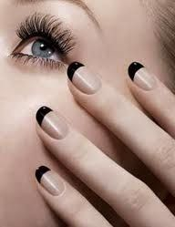 Trendy Nails Round Black French Tips 66 Ideas French Manicure With A Twist, Black French Manicure, French Manicure Nails, French Tip Nails, My Nails, Hair And Nails, French Polish, Black Polish, Coloured French Manicure