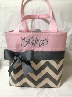 Boutique Personalized Pink and Grey Chevron Diaper by lessacsbyamy. , via Etsy.