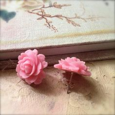 Pastel Pink Rose Post Earrings Spring Sale Shabby by chichigemmes
