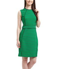 ec916e82f Another great find on  zulily! Green  amp  Black Stripe Sheath Dress   zulilyfinds