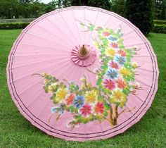 PINK~FLORAL Hand painted  parasol Handmade Umbrella THAI