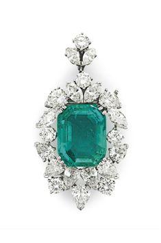 An emerald and diamond pendant brooch #ChristiesJewels