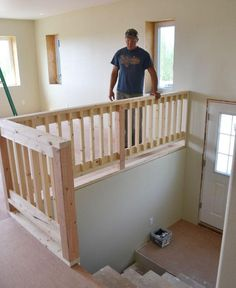 These DIY stair railing ideas & makeovers can update your entire home! Do an easy stair railing remodel with these tutorial and instructions! Diy Stair Railing, Loft Railing, Wood Handrail, Wood Stairs, Open Basement Stairs, Wood Baby Gate, Balustrades, Interior Stairs, Diy Furniture
