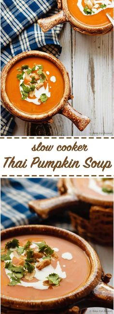 Slow Cooker Thai Pumpkin Soup - Easy to make slow cooker Thai pumpkin soup - a bit spicy, a bit creamy, a whole lot of amazing. The perfect meal for a cold fall day!