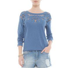T-shirt manga longa linho Richelieu azul