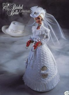 Miss July Bridal Belle NEW Crochet Pattern for Barbie Doll - 30 Days to Pay! #AnniesAttic #DollClothes