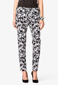 High-Waisted Floral Print Pants | FOREVER21 - 2021839947
