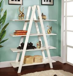 "LACHEN Make this ladder style étagère the focal point of your modern living room. Perfect to display your treasures and is available in white or black.WHITE BOOKSHELF [CM-AC6221WH] 47 1/2""W X 13 1/2""D X 65""HContemporary Style4-tier Book ShelfSolid Wood Sale for $170"